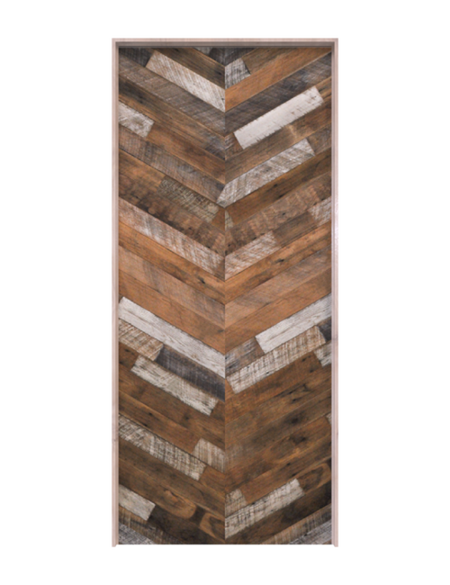 wood herringbone single barn door