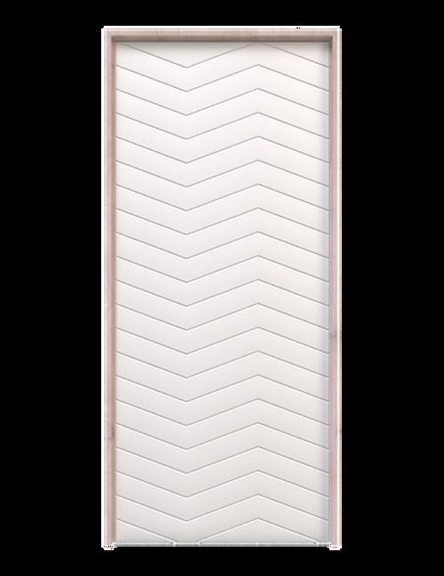 white painted wood triple herringbone barn door