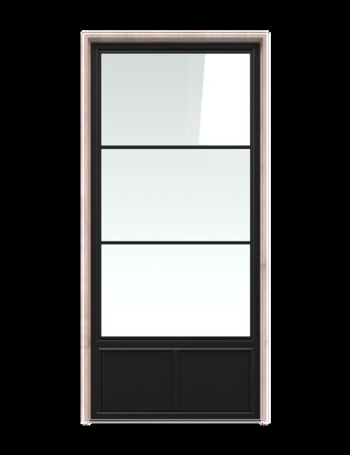 metal three panel glass single barn door