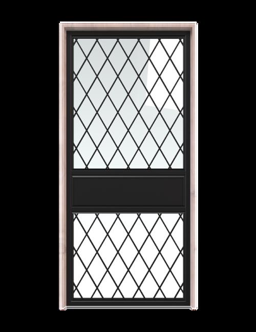 metal two panel double barn door with glass diamond pane window