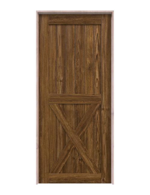 lake placid dark stained wood half x panel barn door
