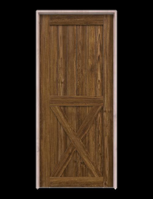 lake placid dark stained wood half x panel barn door