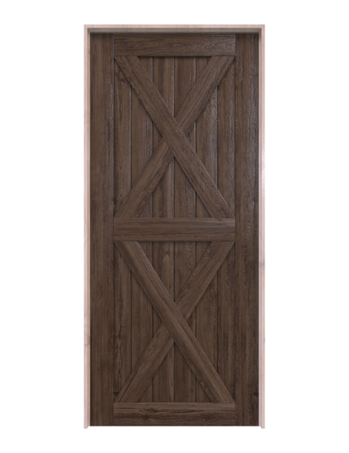 nantucket dark stained wood barn door with double x panel