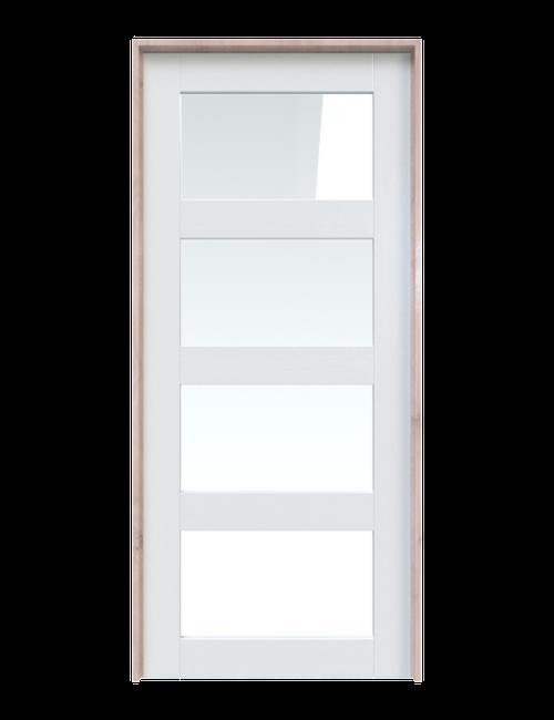 wood and glass 4 panel interior barn door