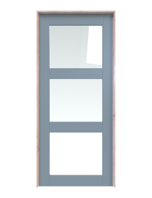 wood three panel glass single barn door