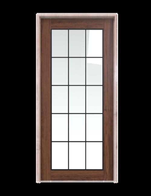 dark stained wood barn door with full glass window pane