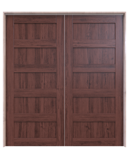 dark stained wood 5 panel double barn door