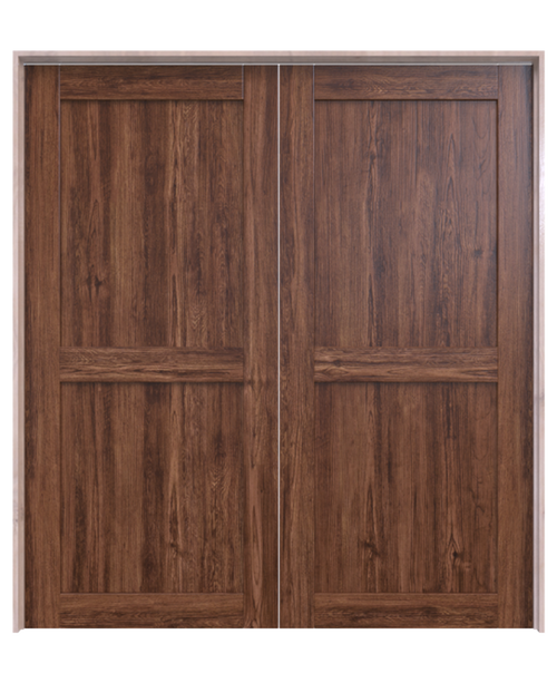 wood 2 panel double barn door