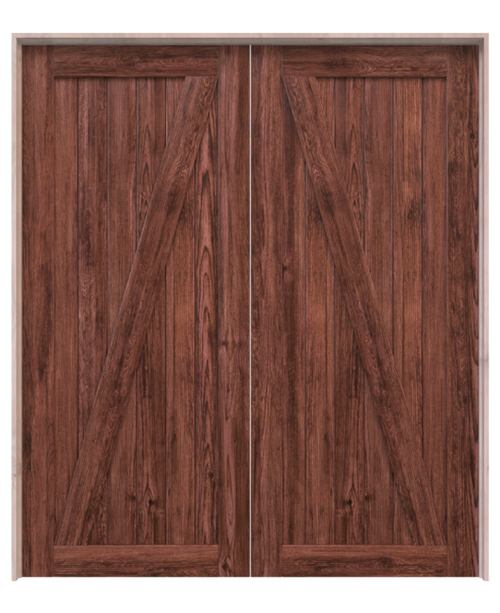 juneau wood dark stain classic z double barn door
