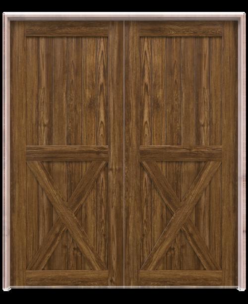 dark stained wood half x panel double barn door