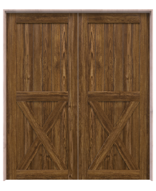 dark stained wood half x panel double barn door
