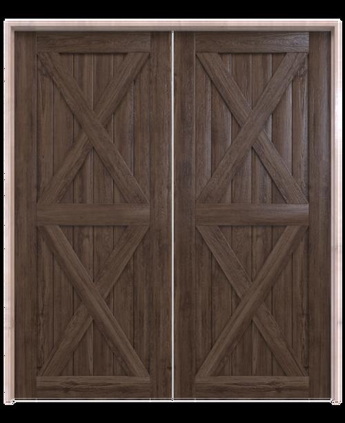 nantucket dark stained wood double barn door with double x panel