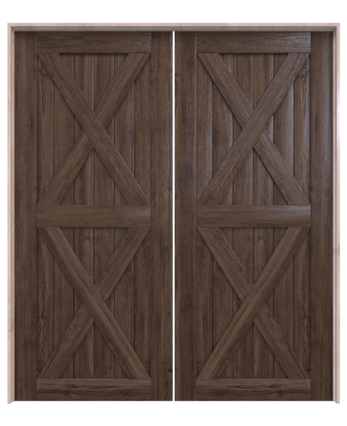 nantucket dark stained wood double barn door with double x panel