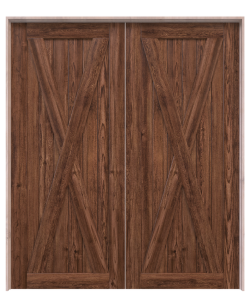 savannah savannah dark stained wood double barn door with classic full x panel