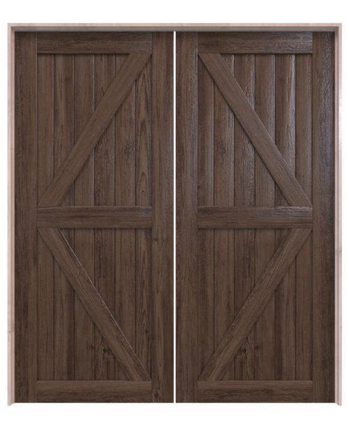 sonoma dark stained wood stable style double barn door