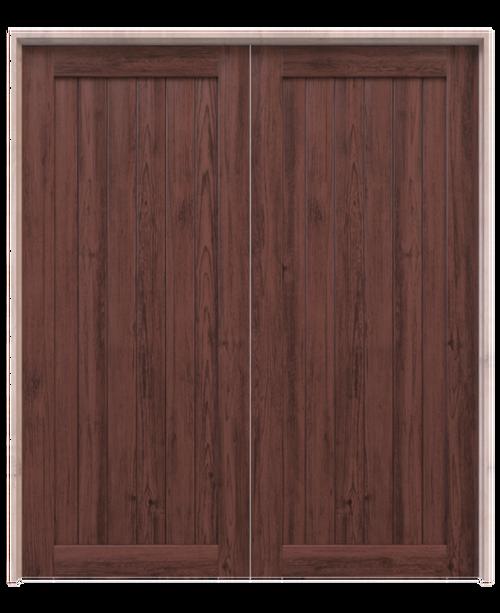 hudson dark stained wood vertical full panel double barn door