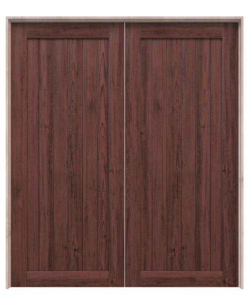 hudson dark stained wood vertical full panel double barn door