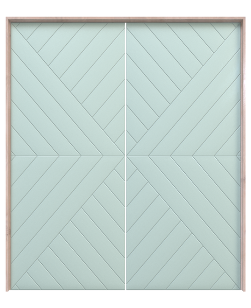 teal painted wood arrow pattern double barn door
