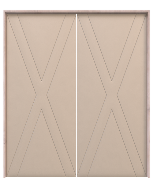 wood double barn door with modern etched x pattern