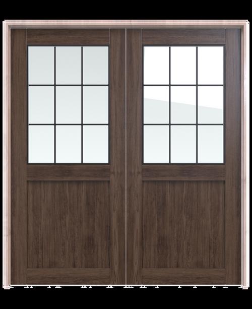 dark stained wood rustic double barn door with half glass window
