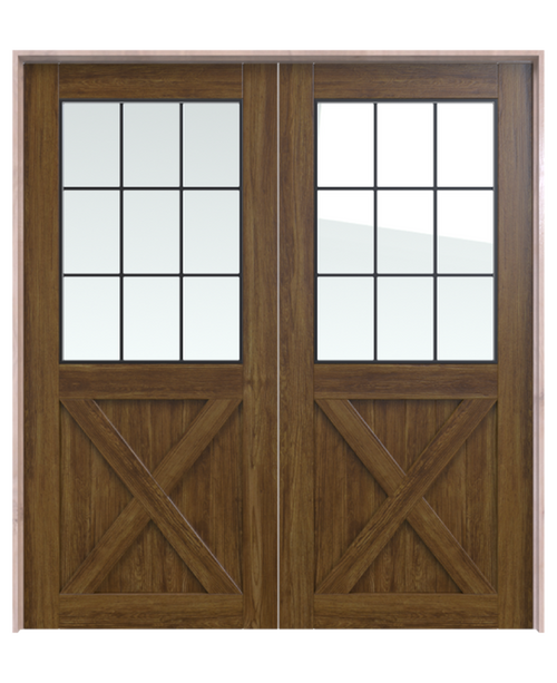 stained wood double barn door with half glass panel and half x panel
