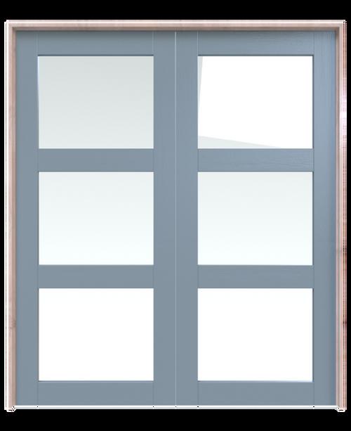 wood three panel glass double barn door