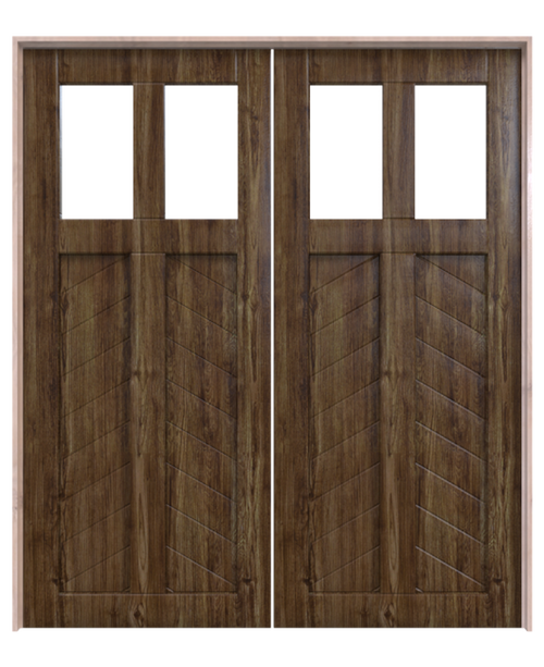 light chevron wood dual glass pane stained chevron panel double barn door