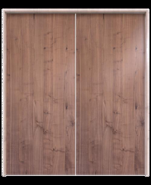 walnut slab wood double barn door