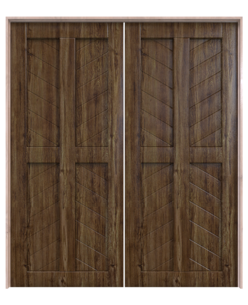 dark stained wood 4 panel chevron double barn door