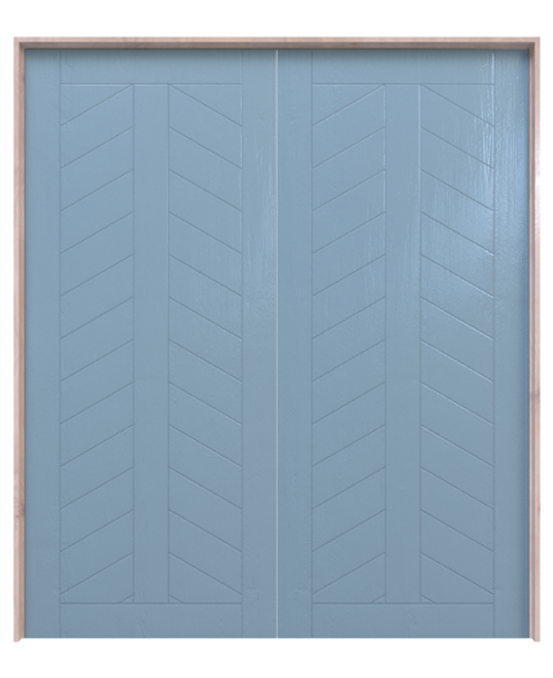 blue painted wood chevron panel double barn door