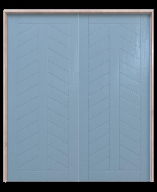 blue painted wood chevron panel double barn door