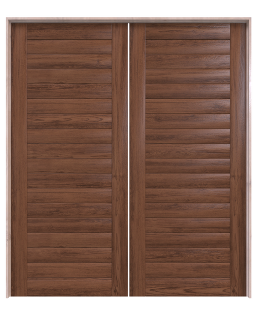 wood walnut horizontal full panel double barn door