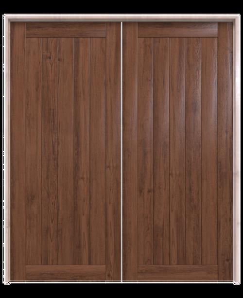 walnut wood vertical plank double barn door