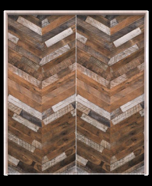 wood herringbone double barn door