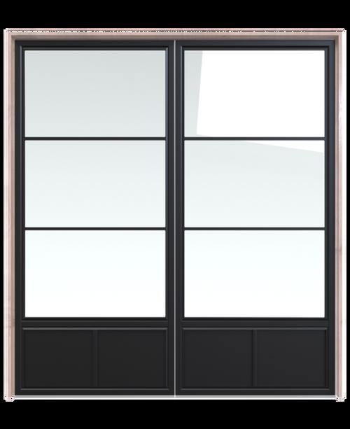 metal three panel glass double barn door