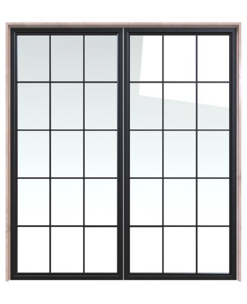 metal square window pane glass double barn door