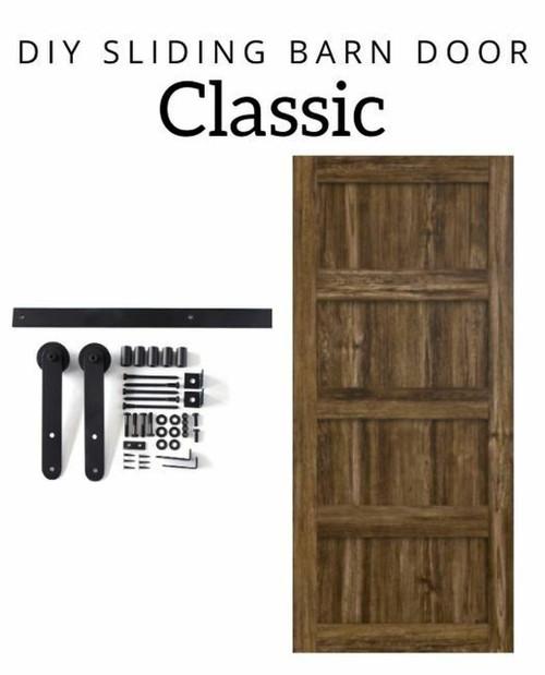 stained wood diy 4 panel barn door