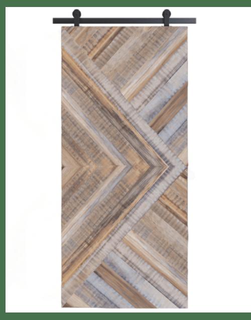 gray arrow design reclaimed wood barn door