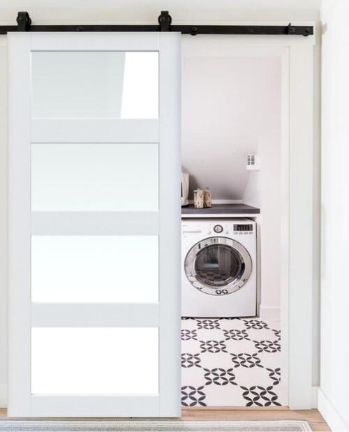 4 panel glass laundry room single sliding barn door