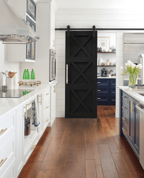 The Ava Custom Sliding Wood Barn Door In Kitchen with silver handle