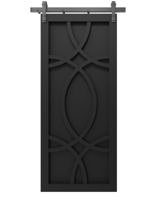 The Alice Wood Swirl Custom Sliding Barn Door - in matte black