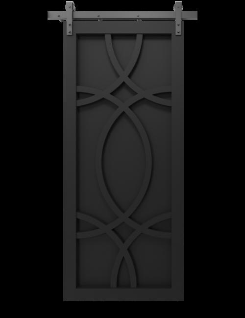 The Alice Wood Swirl Custom Sliding Barn Door - in matte black