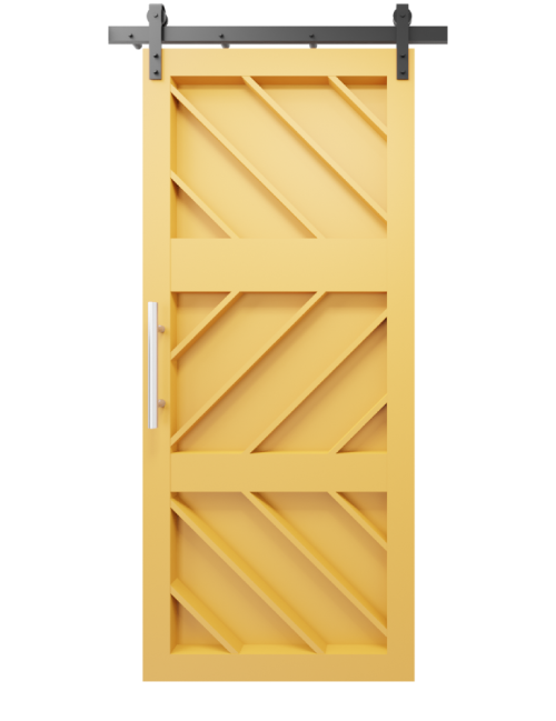 Ginger etched wood custom sliding barn door in Quilt Gold