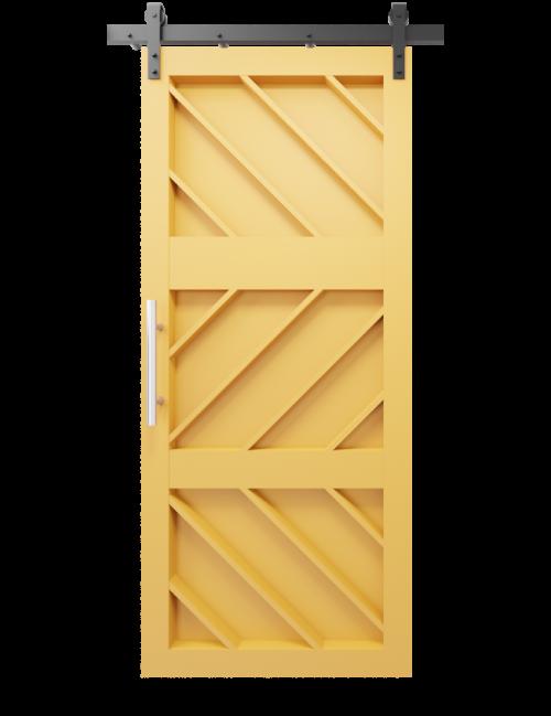 Ginger etched wood custom sliding barn door in Quilt Gold