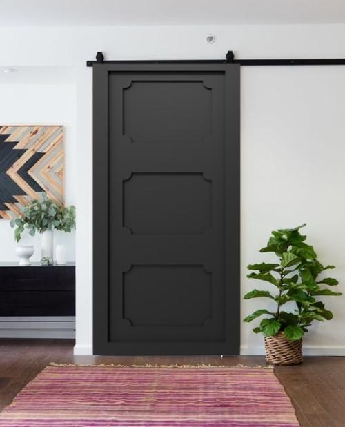 matte black sliding barn door shaker entry way
