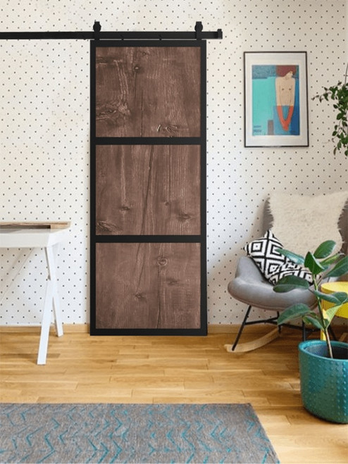 walnut 3 panel wood steel frame custom sliding barn door