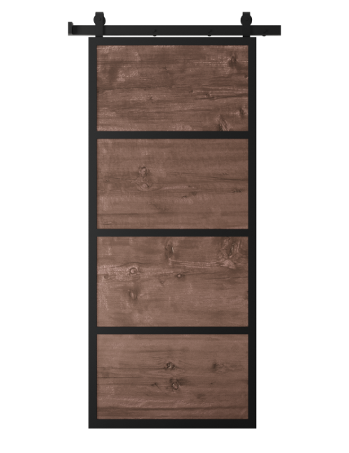 metal frame barn door with stained wood panels