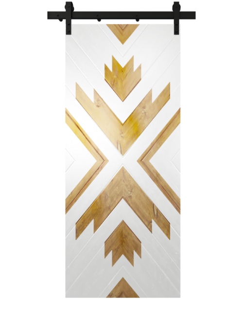 white aztec print barn door