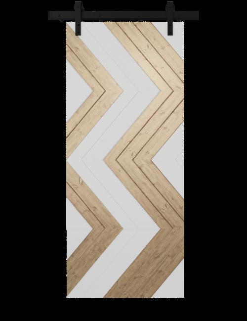 white and natural wood zig zag custom barn door