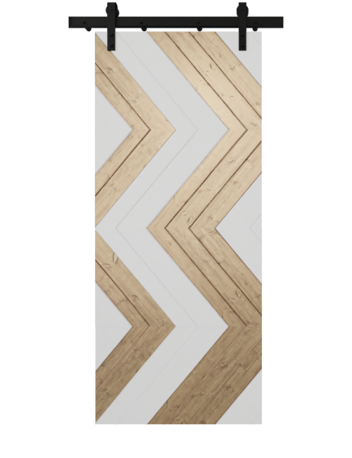 white and natural wood zig zag custom barn door